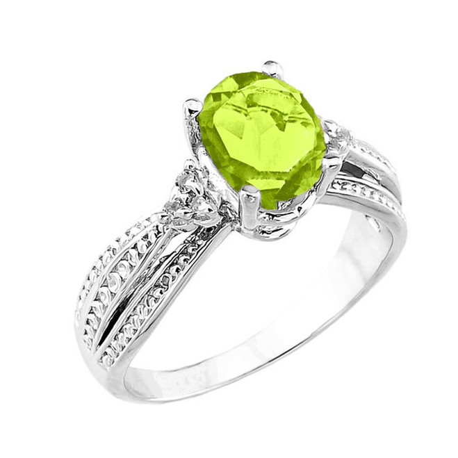 White Gold Genuine Peridot and Diamond Engagement Proposal Ring