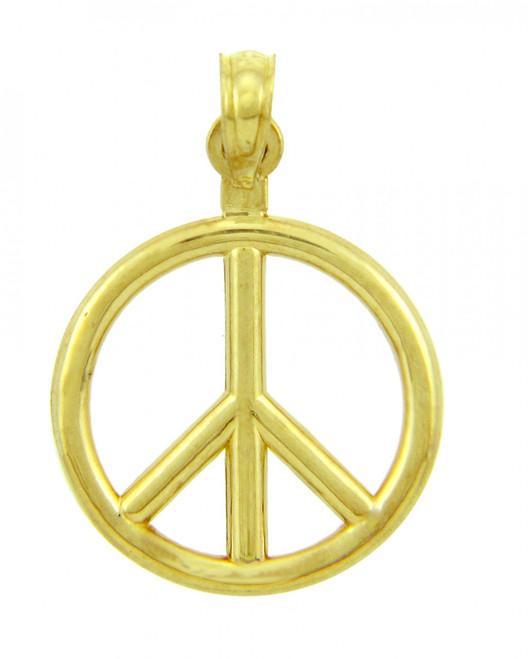 14K Yellow Gold Peace Charm