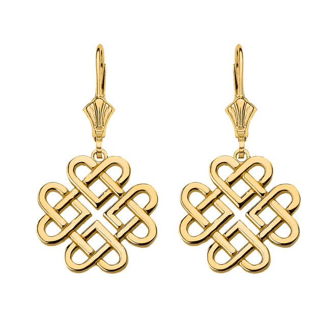 14K Solid Yellow Gold Woven Celtic Hearts Drop Earring Set