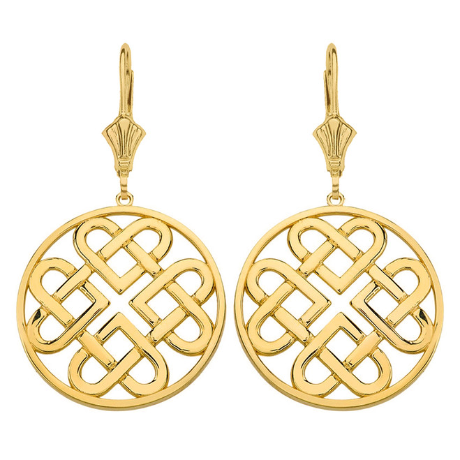 14K Solid Yellow Gold Woven Celtic Hearts Circle Drop Earring Set  (Large)
