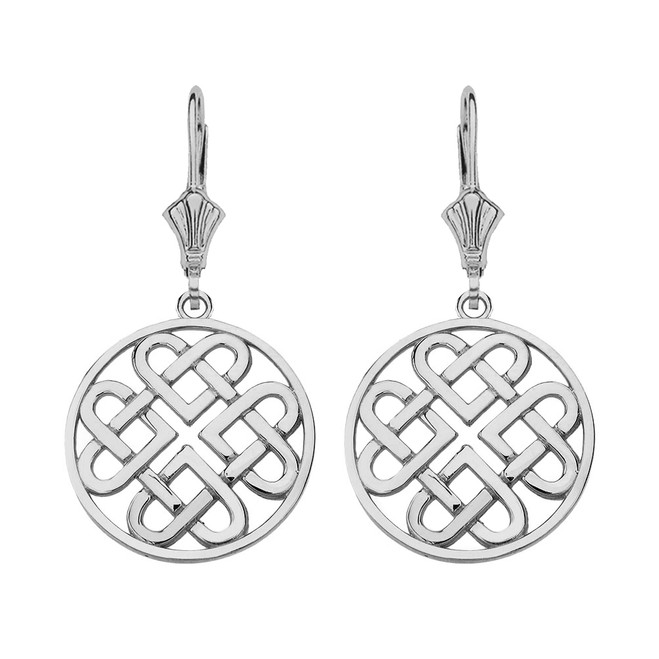 Sterling Silver Woven Celtic Hearts Circle Drop Earring Set  (Small)