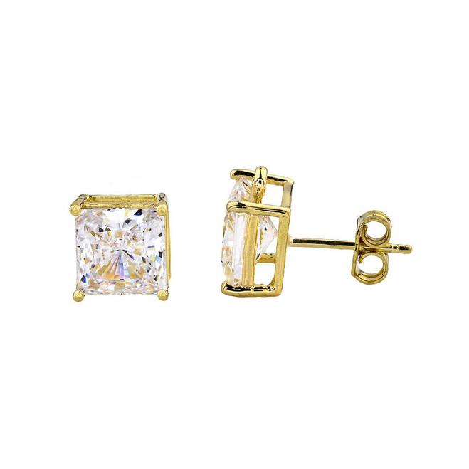 Yellow Gold Elegant Princess Cut Stud Earrings