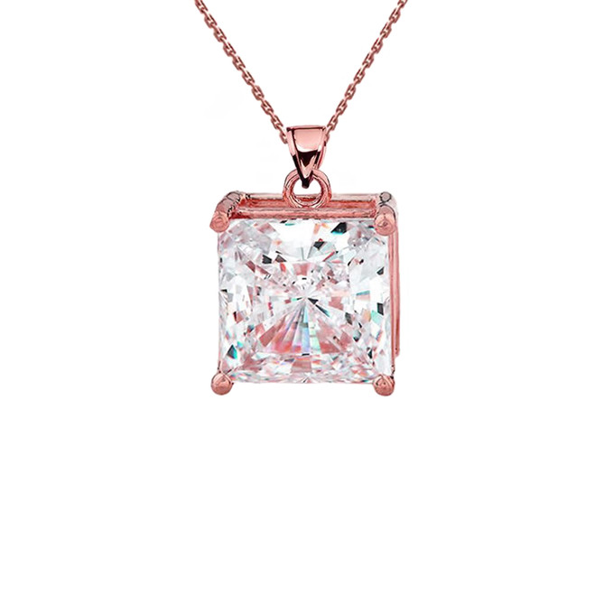Rose Gold Elegant Princess Cut Necklace
