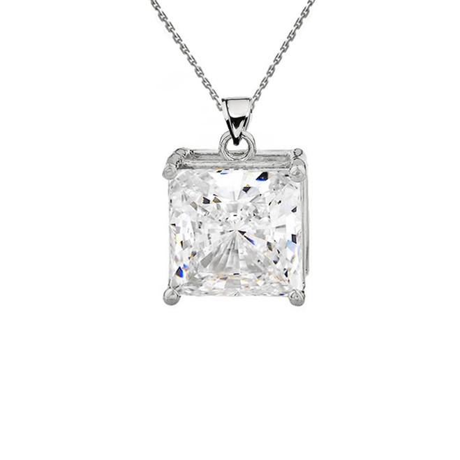 White Gold Elegant Princess Cut Necklace