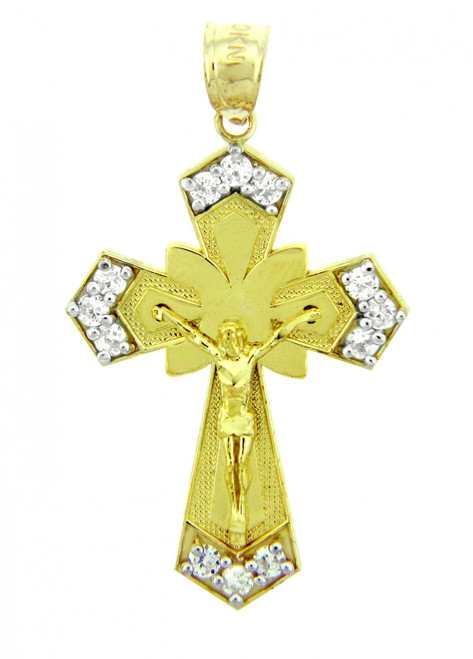 Yellow Gold Crucifix Religious Charm Pendant