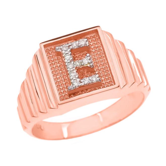 Rose Gold Diamond Initial E Ring