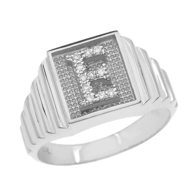 White Gold Diamond Initial E Ring