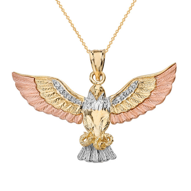 Solid Three Tone Gold Eagle Snake CZ Pendant Necklace