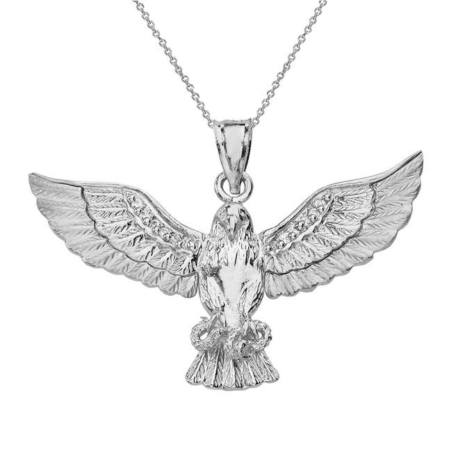 Sterling Silver Eagle Snake CZ Pendant Necklace