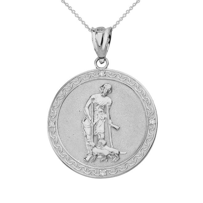 Solid White Gold Saint Lazarus Engravable Circle Medallion Diamond Pendant Necklace (Small)