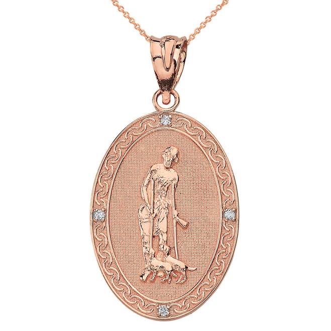 Solid Rose Gold Saint Lazarus Engravable Oval Medallion Diamond Pendant Necklace (Large)