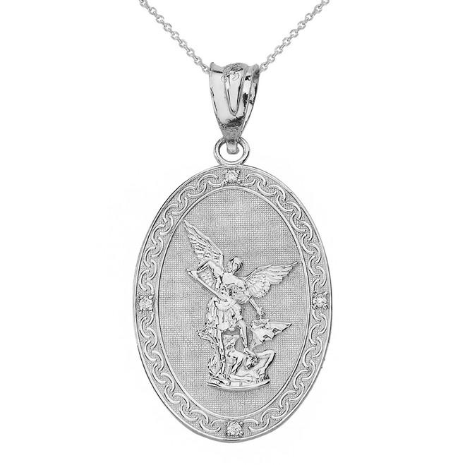 Sterling Silver  Archangel Michael Oval Medallion CZ Prayer Pendant Necklace (Large)