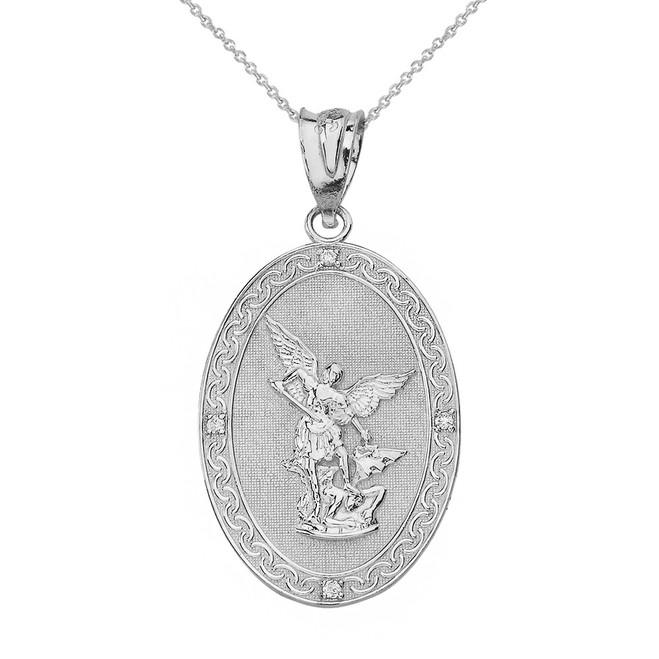 Solid White Gold Archangel Michael Oval Medallion Diamond Prayer Pendant Necklace (Small)