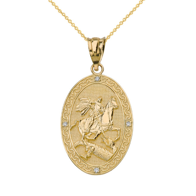 Solid Yellow Gold Saint George and the Dragon Oval Engravable Medallion Diamond Prayer Pendant Necklace (Small)