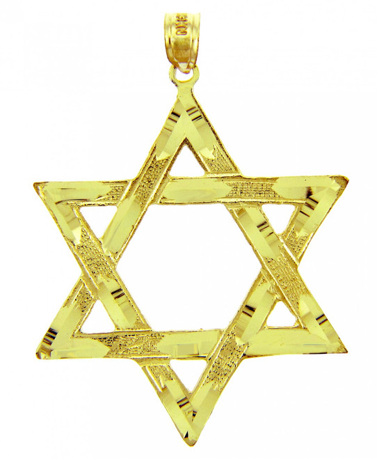 Jewish Charms and Pendants - Large Gold Star of David Pendant
