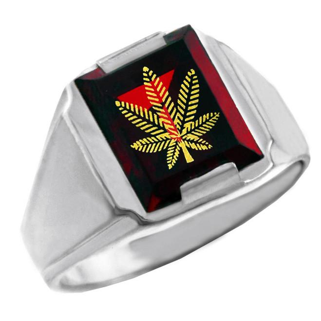Solid White Gold Red CZ Stone Marijuana Signet Men's Ring
