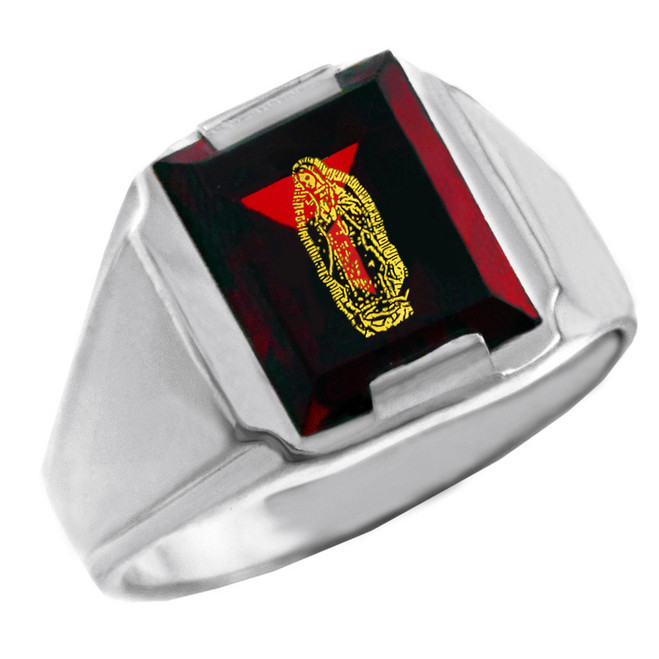Sterling Silver Red CZ Stone Our Lady of Guadalupe Signet Men's Ring
