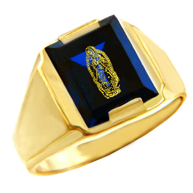 Solid Yellow Gold Blue CZ Stone Our Lady of Guadalupe Signet Men's Ring