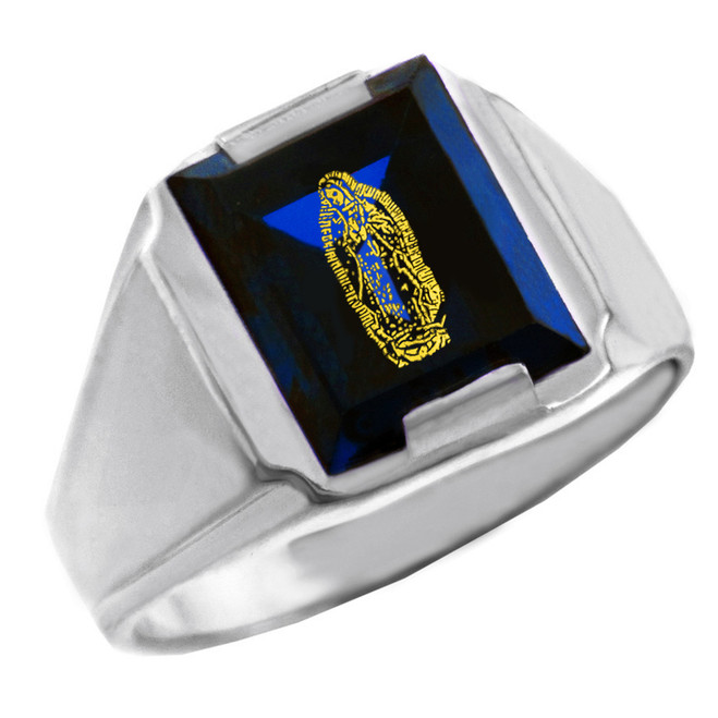 Sterling Silver Blue CZ Stone Our Lady of Guadalupe Signet Men's Ring