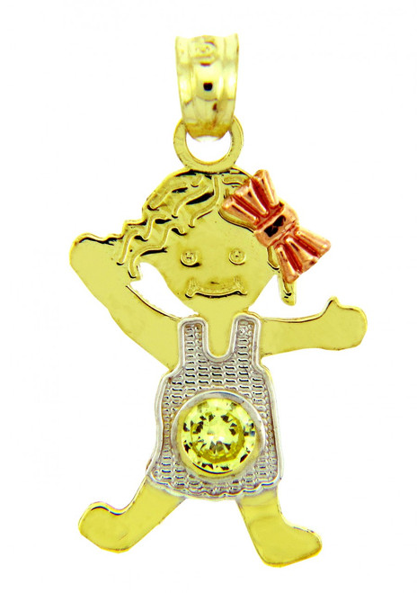 Tri Tone Gold Girl Birthstone Charm w/ CZ Peridot
