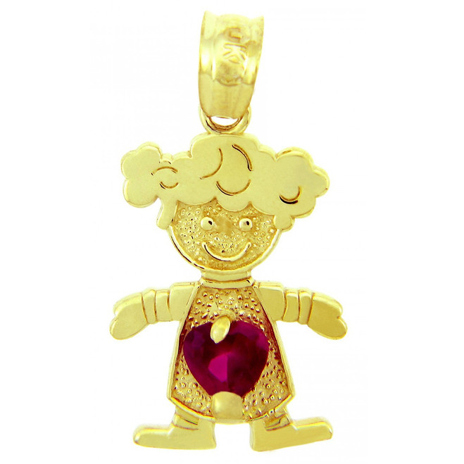 CZ Red Heart Girl Yellow Gold Birthstone Charm