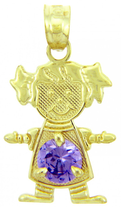 CZ Light Purple Amethyst Girl With Pigtails Birthstone Charm