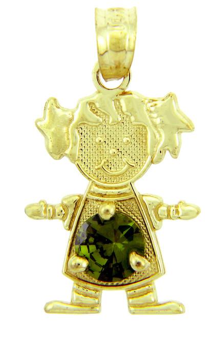 Girl CZ Emerald Green Round Birthstone Charm