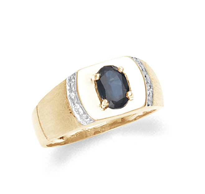 Gold Sapphire Mens Ring With Diamonds