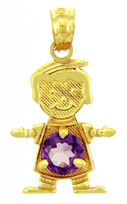 CZ Purple Amethyst February Birthstone Charm