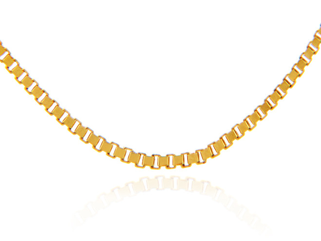 Gold Chains: Box Link Yellow Gold Chain 0.98mm