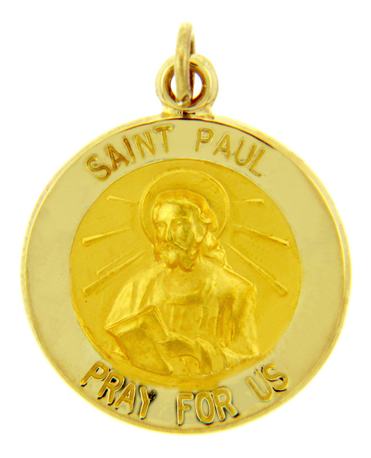 14K Gold Religious Pendants - The Saint Paul Pray For Us Yellow Gold Pendant