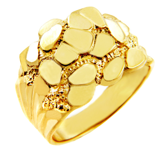 Mens Solid Gold Nugget Ring