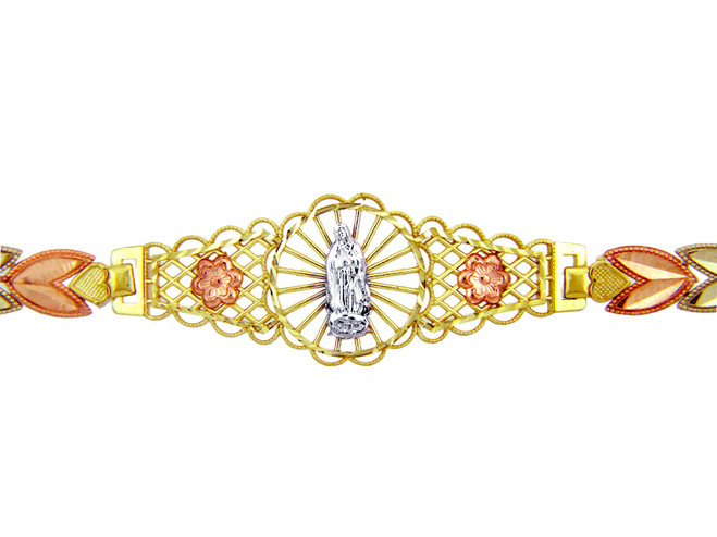 Tri-Color Gold Bracelet - The Our Lady of Guadalupe Diamond Cut Bracelet