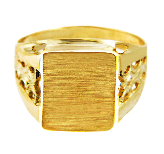 Men's Square Platform Solid Gold Signet Ring