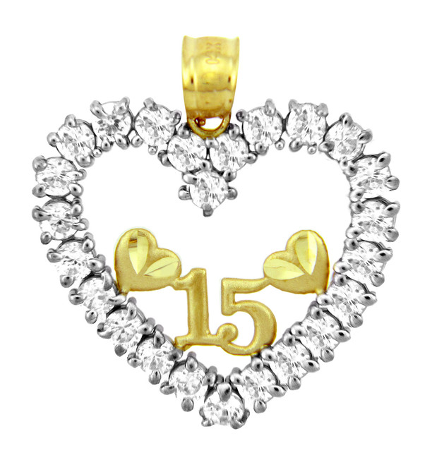 Sweet-15 Gold Quinceanera CZ Pendant