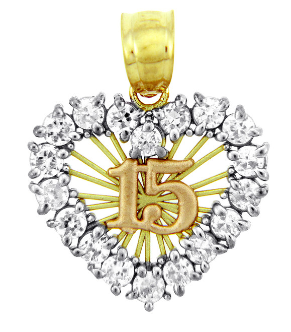 Gold Pendants - The Sweet 15 Gold Birthday- Quinceanera Pendant in Cubic Zirconia with SunBurst