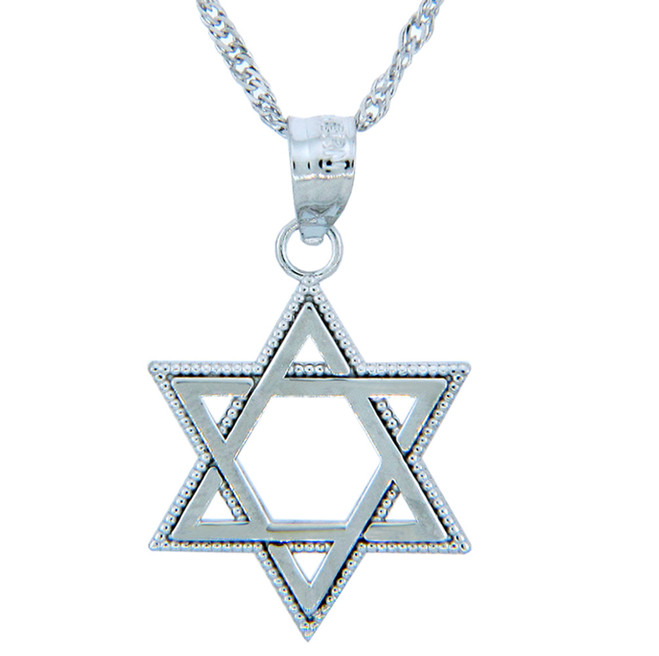 White Gold Milgrain Jewish Star of David Pendant Necklace