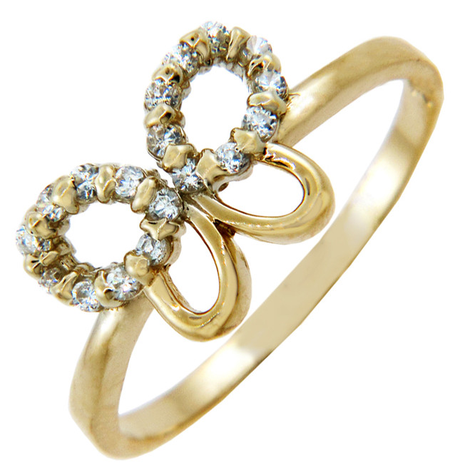 Ladies Gold CZ Rings - Gold Cubic Zirconia Butterfly Ring