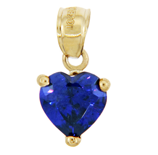 Love and Heart Gold Pendants - Cubic Zirconia Blue Heart Pendant