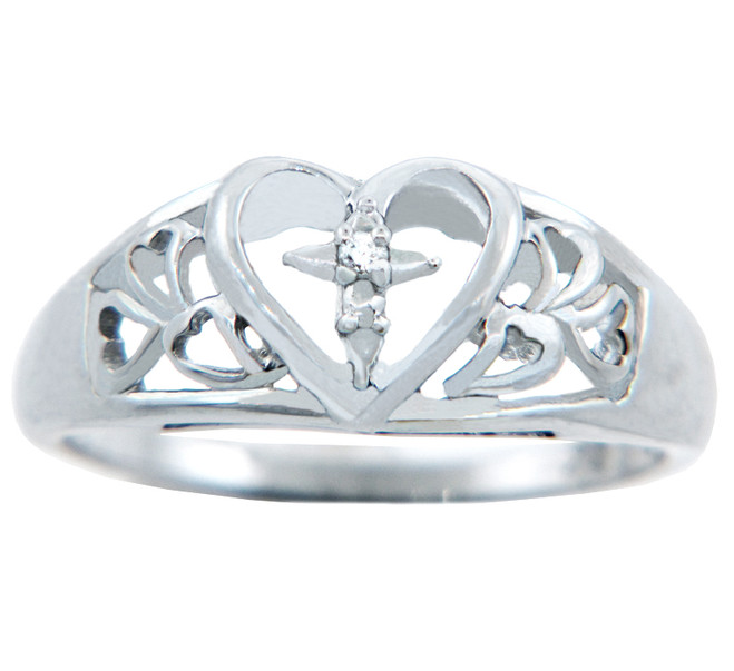 Valentines Special - Ladies Diamond Heart with Cross Gold Ring