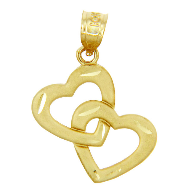 Gold Pendants - Two Gold Hearts Pendant