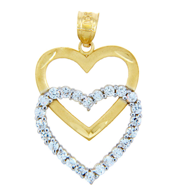 Gold Pendants - Twin Hearts Pendant in Gold and CZs