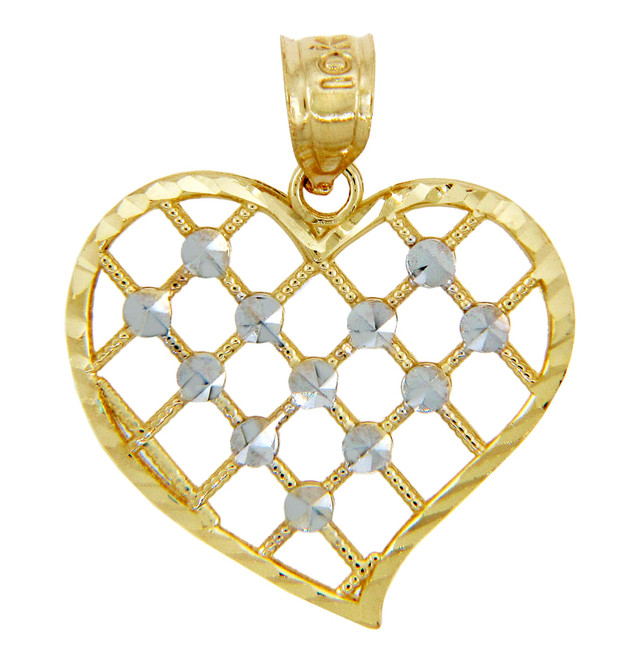 Gold Pendants - Gold Heart Pendant in Two Tone