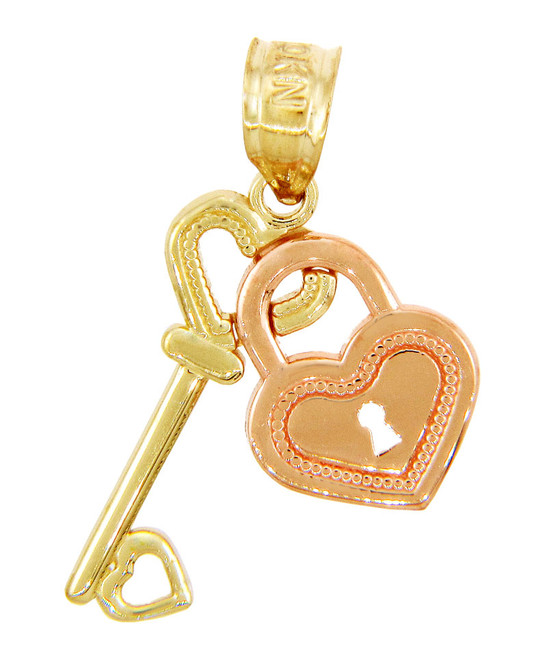 Gold Pendants - Two Tone Gold Key to My Heart Pendant