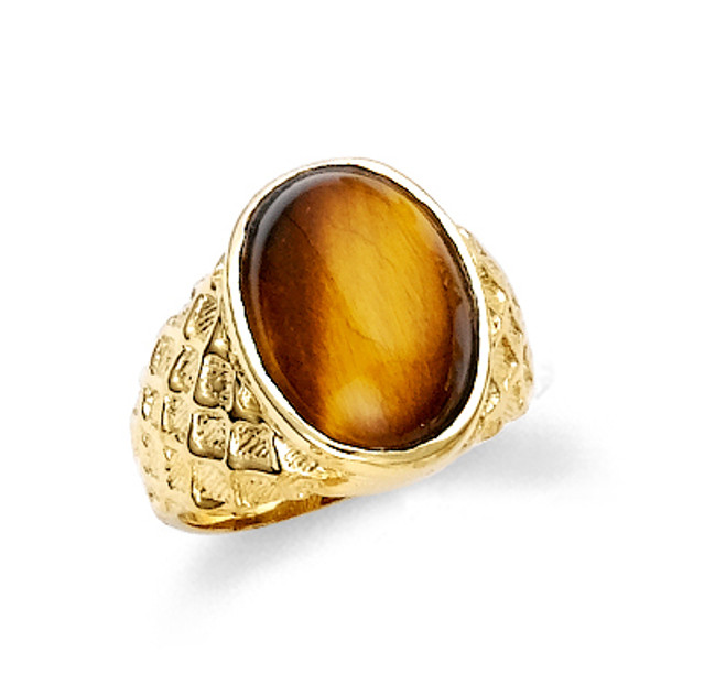 Oval tiger eye men's ring in 10k or 14k solid yellow gold.