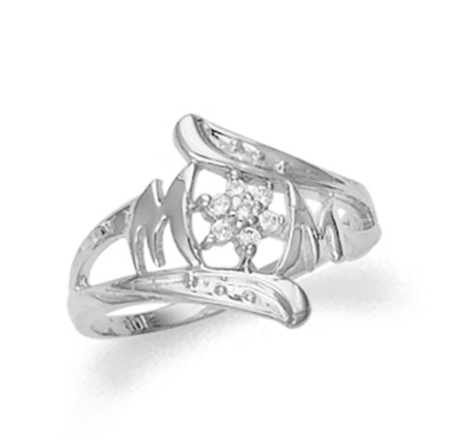 White Gold Mom Cubic Zirconia Ring