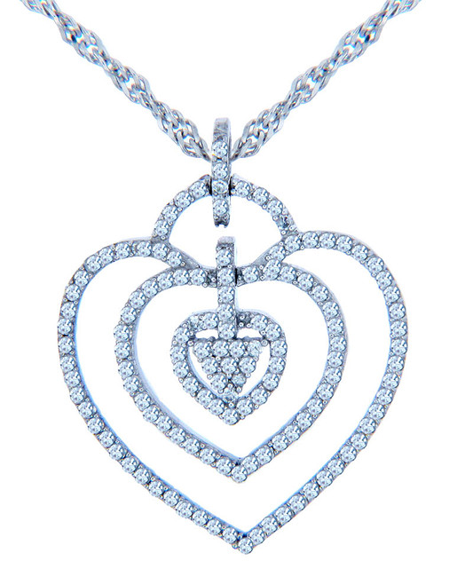 Valentines Special Heart Diamonds - White Gold Triple Heart Pendant with Diamonds (w Chain)