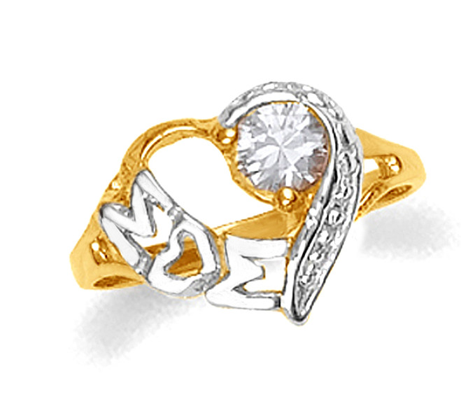 Two-tone white and yellow gold Mom heart ring with cubic zirconia.