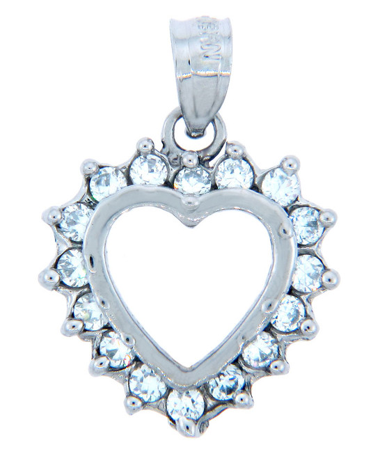 Love and Heart Pendants - Elegant Heart Pendant in 10K Gold with Cubic Zirconias