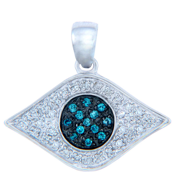 Diamond Pendants - Gold Eye of God Pendant with Blue Diamonds
